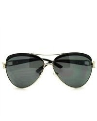 106Shades Eyelash Visor Fashion Aviator Sunglasses Black