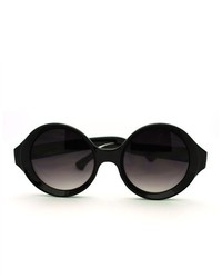 106Shades Plastic Frame Unique Wizard Round Circle Lens Sunglasses Black