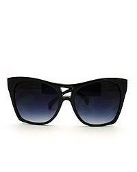 106Shades Trendy Large Coverage Oversized Cat Eye Sunglasses Black