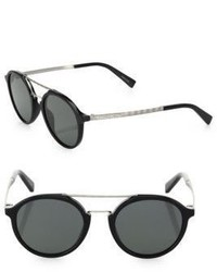 Ermenegildo Zegna 50mm Round Chevron Patterned Sunglasses