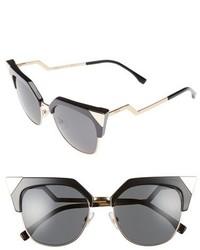 Fendi 54mm Metal Tipped Cat Eye Sunglasses Black Gold