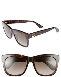 Gucci 54mm Retro Sunglasses Black Grey