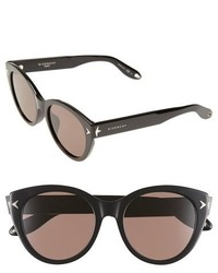 Givenchy 54mm Round Sunglasses Black Brown