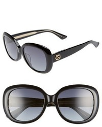 Gucci 55mm Rectangular Sunglasses Black Grey