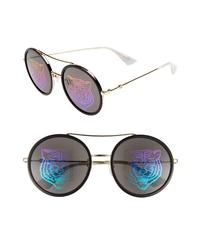 Gucci 56mm Round Mirrored Aviator Sunglasses