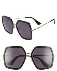 Gucci 56mm Sunglasses Black Grey