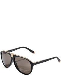 DSQUARED2 Acetate Aviator Sunglasses Semi Shiny Blackshiny Rose Gold