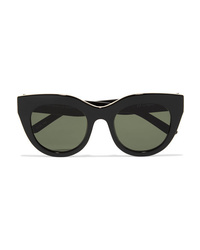 Le Specs Air Heart Cat Eye Acetate And Gold Tone Sunglasses
