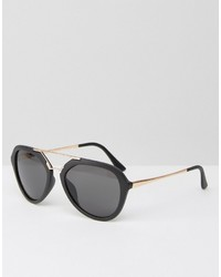 Aj Morgan Aviator Sunglasses In Matt Black And Contrast Gold