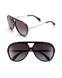Alexander McQueen 61mm Aviator Sunglasses Black One Size
