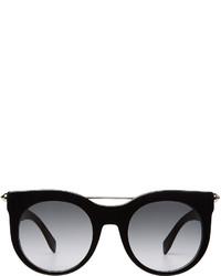Alexander McQueen Piercing Bar Round Frame Sunglasses