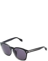 Alexander McQueen Square Acetate Sunglasses Blackcrystal