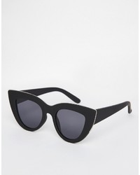 Asos Collection Flat Top Cat Eye Sunglasses With Metal Sandwich And Flat Lens