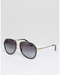 Dolce & Gabbana Aviator Sunglasses In Black