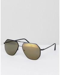 Asos Aviator Sunglasses In Black With Angled Design