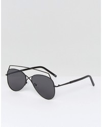 Asos Aviator Sunglasses In Black With Matte Black Brow Bar