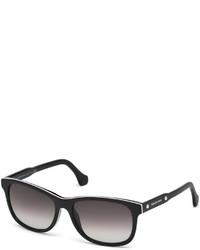 Balenciaga Acetate Rectangle Sunglasses Black