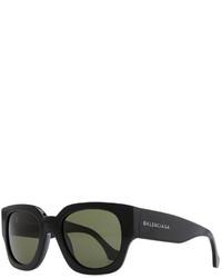 Balenciaga Thick Square Acetate Sunglasses Blackgreen