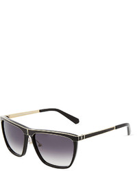 Balmain Black Acetate Clubmaster Sunglasses