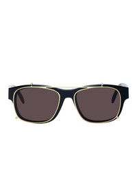 Alexander McQueen Black And Gold Rectangular 54 Sunglasses