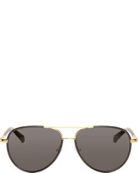 The Row Black Gold Linda Farrow Edition Aviator Sunglasses