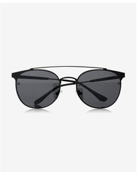 Express Black Matte Round Sunglasses