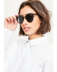 Missguided Black Round Metal Bar Sunglasses