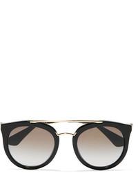 Prada Cat Eye Acetate And Gold Tone Sunglasses Black