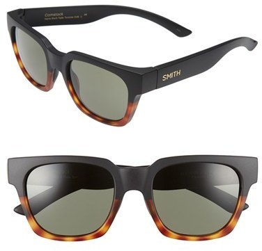 Smith Optics Comstock 52mm Rectangular Sunglasses Black Tortoise Grey Green