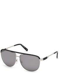 DSQUARED2 Contrast Trim Metal Aviator Sunglasses Silverblack
