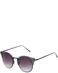 Ellen Tracy Cutout Cat Eye Metal Gradient Sunglasses Black