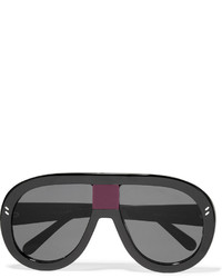 Stella McCartney D Frame Acetate Mirrored Sunglasses Black