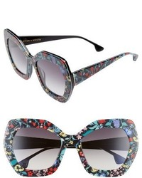 Alice + Olivia Dinah 55mm Butterfly Sunglasses Black White