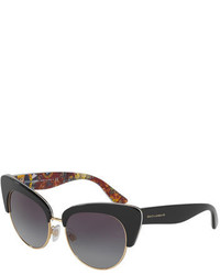 Dolce & Gabbana Dna Semi Rimless Cat Eye Sunglasses Black