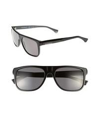 Emporio Armani 56mm Polarized Sunglasses Black Polarized Grey None