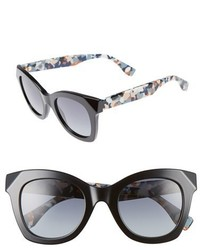 Fendi 48mm Chromia Retro Sunglasses Black
