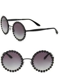 Dolce & Gabbana Flower Trimmed 56mm Round Sunglasses