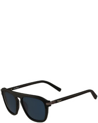 Salvatore Ferragamo Gancini Bridge Plastic Square Sunglasses Black Matte