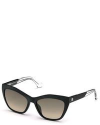 Balenciaga Geometric Gradient Cat Eye Sunglasses Black