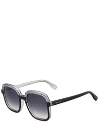 Jimmy Choo Glam Glittered Two Tone Square Sunglasses