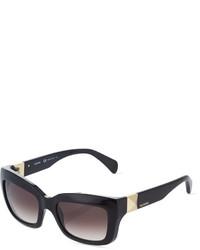 Valentino Glossy Rectangle Acetate Sunglasses Black