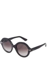 Valentino Glossy Round Acetate Sunglasses Black