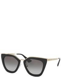 Prada Gradient Metal Trim Geometric Cat Eye Sunglasses