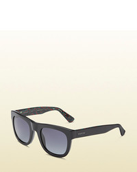 Gucci Acetate Rectangle Sunglasses With Web Detail