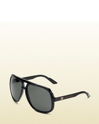 Gucci Large Aviator Sunglasses With G Detail And Signature Web On Temple