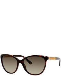 Gucci Metal Trim Diamantissima Cat Eye Sunglasses Black
