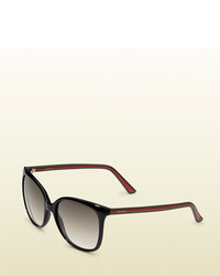 Gucci Rubber Effect Web Sunglasses