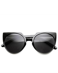 ZeroUV High Fashion Mod Keyhole Bridge Round Cat Eye Sunglasses