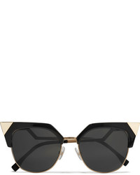Fendi Iridia Cat Eye Gold Tone And Acetate Sunglasses Black