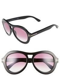 Tom Ford Isla 56mm Round Aviator Sunglasses Black Gradient Purple
